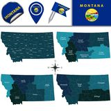 Map of Montana with Regions. Vector map of Montana with named regions and travel icons stock illustration