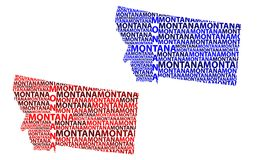 Map of Montana - vector illustration. Sketch Montana United States of America letter text map, Montana map - in the shape of the continent, Map Montana - red and stock illustration