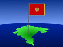 Map of Montenegro with flag Royalty Free Stock Photography