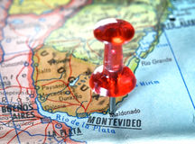 Map of Montevideo Uruguay. Close-up of a red pushpin on a map of Montevideo Uruguay - travel concept royalty free stock image