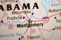 Map of Montgomery Alabama. And surrounding area stock photos