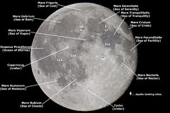 Map of the Moon. Close up of the moon with landmarks labeled Royalty Free Stock Images