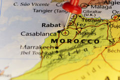 Map of Morocco, pin on capitol city Rabat. Royalty Free Stock Image