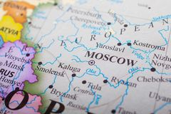 Map of Moscow Russia. Map of Moscow in Russia. Moscow, on the Moskva River in western Russia, is the nation's cosmopolitan capital. In its historic core royalty free stock images