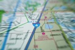 Map Movement. Closeup shot of a map. Radial blur effect Royalty Free Stock Photography