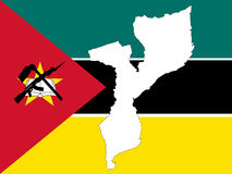 Map of mozambique. And mozambican flag illustration Royalty Free Stock Photo
