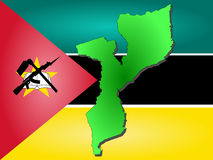Map of Mozambique. And Mozambican flag illustration Royalty Free Stock Images