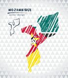 Map of Mozambique with hand drawn sketch pen map inside. Vector illustration. Vector sketch map of Mozambique with flag, hand drawn chalk illustration. Grunge Vector Illustration