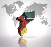 Map of Mozambique. With Mozambican Flag on a world map background Stock Images