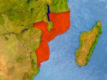 Map of Mozambique. Mozambique in red on realistic map with embossed countries. 3D illustration. Elements of this image furnished by NASA Stock Photography