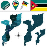 Map of Mozambique with Named Provinces Royalty Free Stock Images