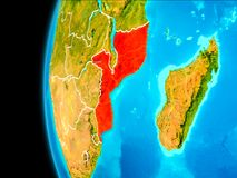 Map of Mozambique in red. Mozambique as seen from Earth's orbit on planet Earth highlighted in red with visible borders. 3D illustration Stock Images
