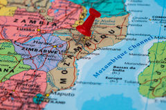 Map of Mozambique with a red pushpin stuck Stock Photography