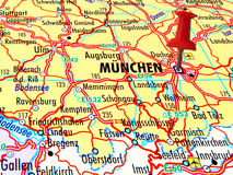Map of Munchen with stabbed pin. Map of Munchen with red stabbed pin and names of other towns in Germany Stock Photo