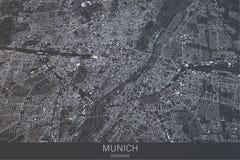 Map of Munich of Bavaria, satellite view, city, Germany Royalty Free Stock Photo
