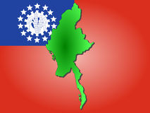 Map of Myanmar. And their flag illustration Stock Photography