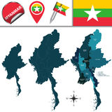 Map of Myanmar with Divisions. Vector map of Myanmar with named divisions  and travel icons Royalty Free Stock Image