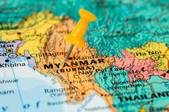 Map of  Myanmar with a orange pushpin stuck Royalty Free Stock Image