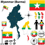 Map of Myanmar. Vector of Myanmar set with detailed country shape with region borders, flags and icons Stock Images