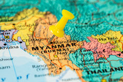 Map of Myanmar with a yellow pushpin stuck Stock Images