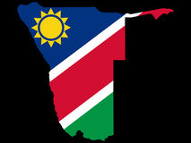 Map of Namibia. And Namibian flag illustration Royalty Free Stock Photography