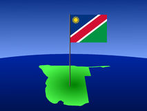 Map of namibia with flag Stock Photo