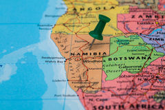 Map Namibia with a green pushpin stuck Stock Photo