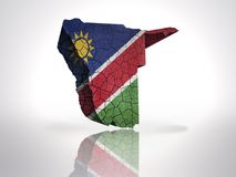 Map of Namibia. With Namibian Flag on a white background Royalty Free Stock Photography