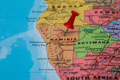 Map of  Namibia  with a red pushpin stuck. Map of  Namibia  with a pushpin stuck Royalty Free Stock Images