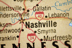 Map of Nashville Tennessee. And surrounding area royalty free stock photos