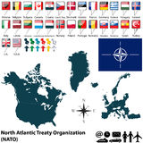Map on NATO. Vector of 28 members of NATO with maps and flags stock image