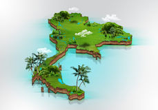 Nature of Thailand. Map Nature of Thailand for background Stock Illustration