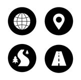 Map navigation black icons set. Gps location pin mark white silhouette illustration. Cartography travel markers. Logistics application interface round symbols Stock Images