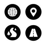 Map navigation black icons set Stock Images