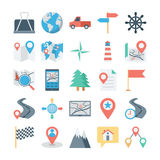 Map and Navigation Colored Vector Icons 2 stock illustration