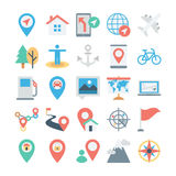 Map and Navigation Colored Vector Icons 3 Stock Photography