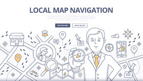 Map Navigation Doodle Concept Stock Image