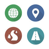 Map navigation flat design icons set Stock Photography