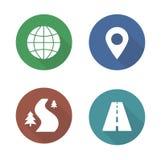 Map navigation flat design icons set Stock Photography