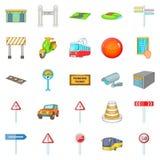 Map navigation icons set, cartoon style Stock Photos