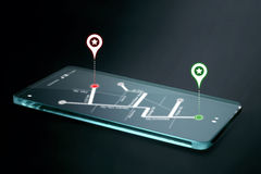 Map and navigation icons on transparent smartphone screen. GPS or Global Positioning System is a network of orbiting satellites that send precise details of Royalty Free Stock Image