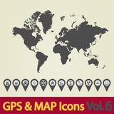 World map icons 6 Royalty Free Stock Photos