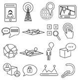 Map navigation location line icons set Stock Photography