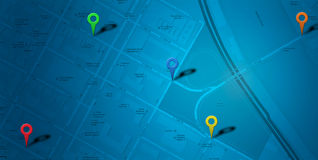 Map Navigation with markers Royalty Free Stock Photo