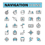 Map navigation outlined icons set. Map navigation for finding location symbols on your phone tablet outlined pictograms set abstract isolated vector illustration Stock Image