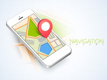 Map navigation with smartphone. 3D map navigation pin pointing to a map on smartphone on abstract background Royalty Free Stock Images