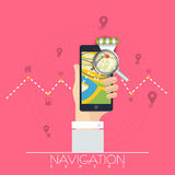 Map navigation with smartphone. Stock Photography