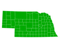 Map of Nebraska Royalty Free Stock Photos