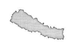 Map of Nepal on old linen Royalty Free Stock Photo