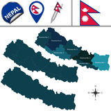Map of Nepal with Provinces Royalty Free Stock Image